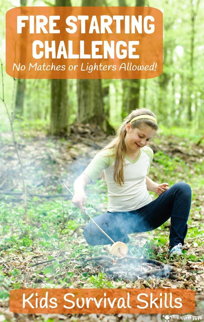 Are your kids up for a survival skills challenge? Get big kids unplugged, outside and enjoying nature with this fire starting challenge, no matches allowed! Your tweens and teens will love this awesome bushcraft activity. NO FIRE = NO COOKING = NO DINNER!