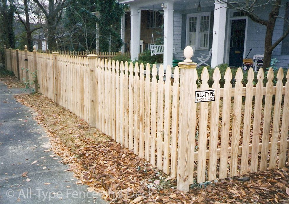 French Gothic Spaced Pickets With Ball Post Caps Jpg 976 689 Fence Pickets Front Yard Patio Fence