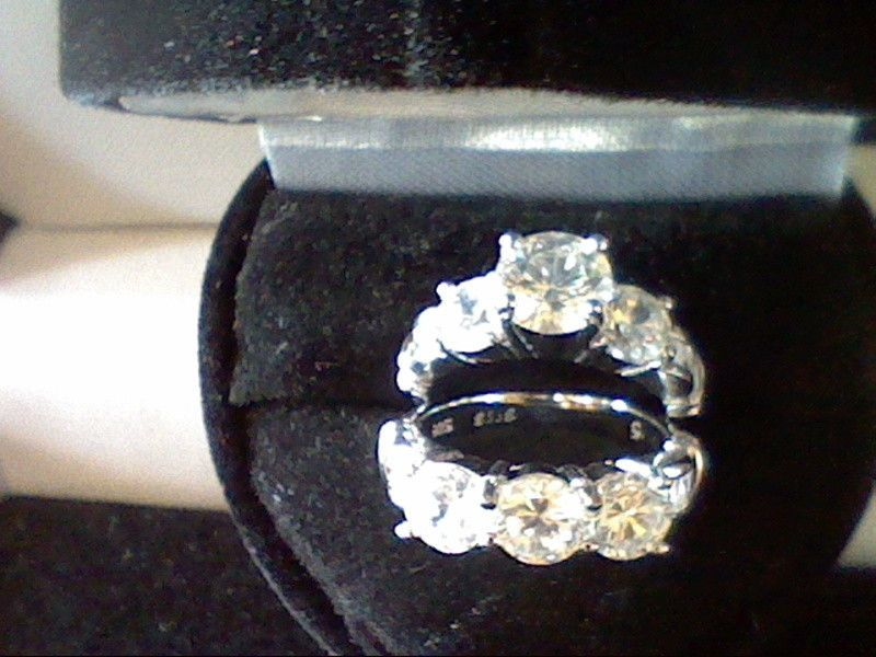 PLATINUM & SS ROUND BAGUETTE LCS DIAMOND ENGAGEMENT WEDDING RING SET + GIFT SZ 5 #WithDiamonds