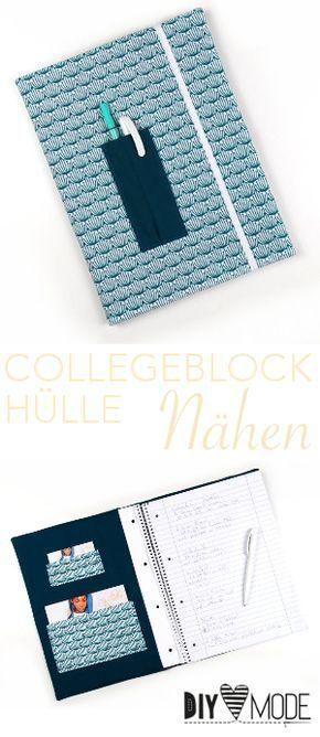 Collegeblock Hülle nähen  |  DIY MODE #strickenundnähen