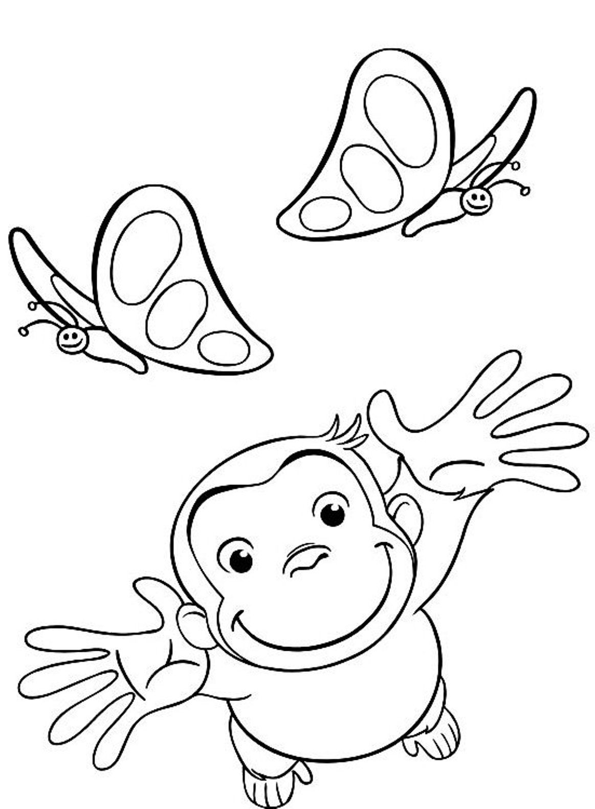 curious george coloring pages playing with butterflies | diseños ...