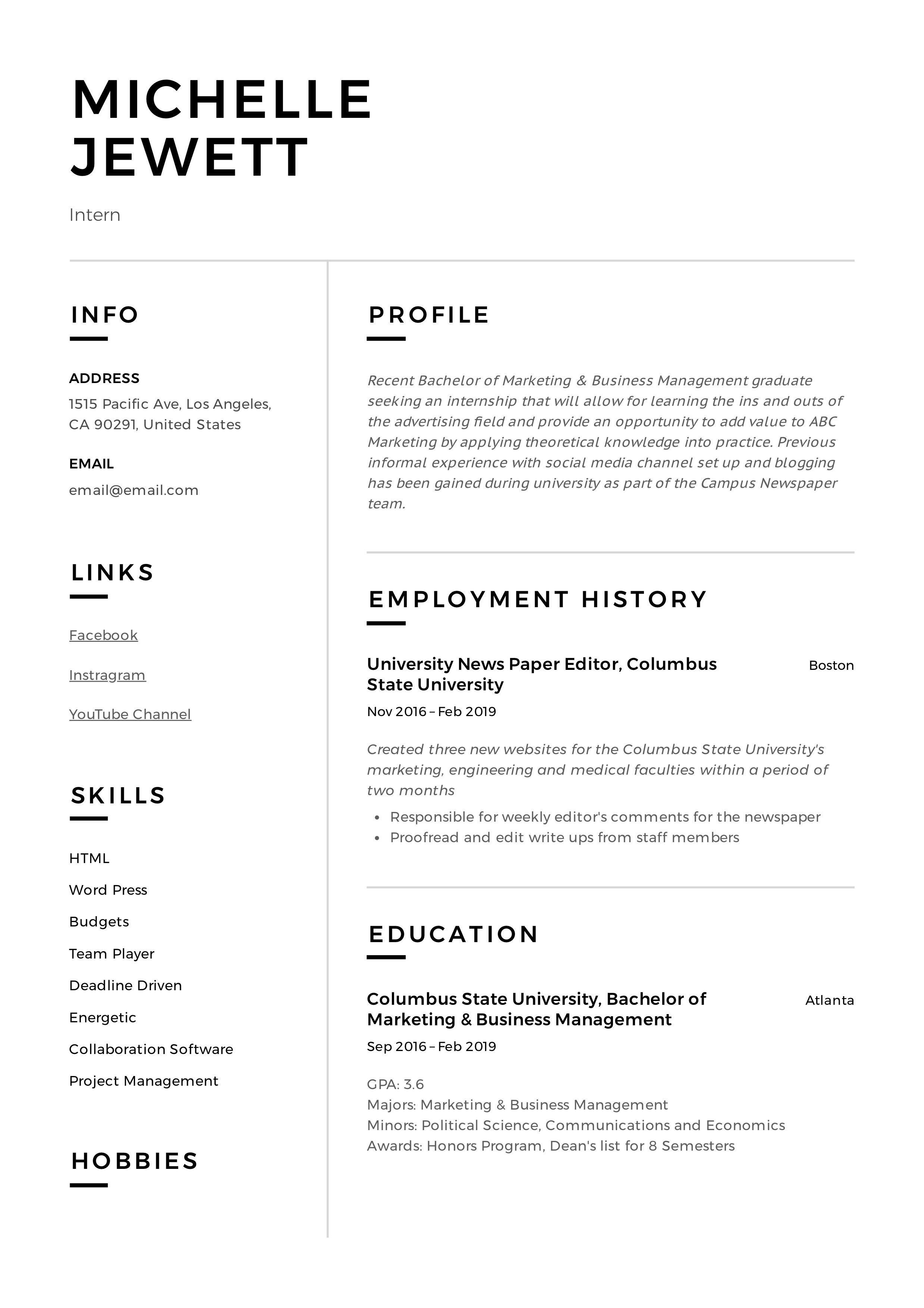 Intern resume sample in 2020 project manager resume
