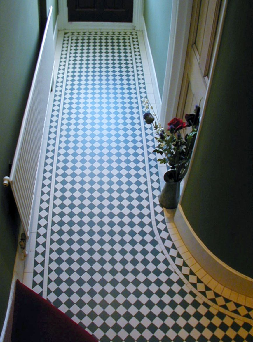 Black Amp White Encaustic Floor Hallways Tiled Hallway