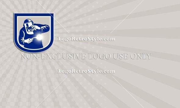 Welder Welding Torch Front Shield Retro Business card Logo-Illustration