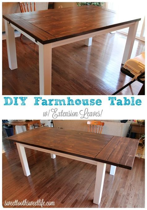 Diy Farmhouse Table With Extension Leaves With Plans Farmhouse