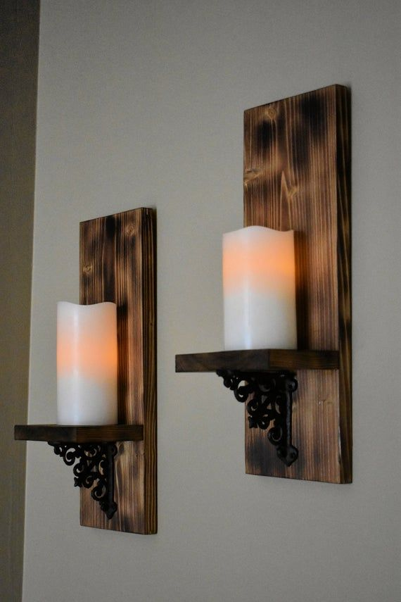Lighted Sconce Rustic Wall Decor Wall Candle Holder Wood Decor Wall Light Livi In 2020 Wall Sconces Living Room Wall Lights Living Room Wooden Candle Sconces