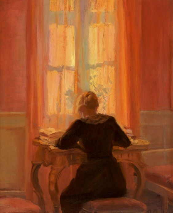 Ancher, Anna (b,1859)- Helga by Table, c 1900