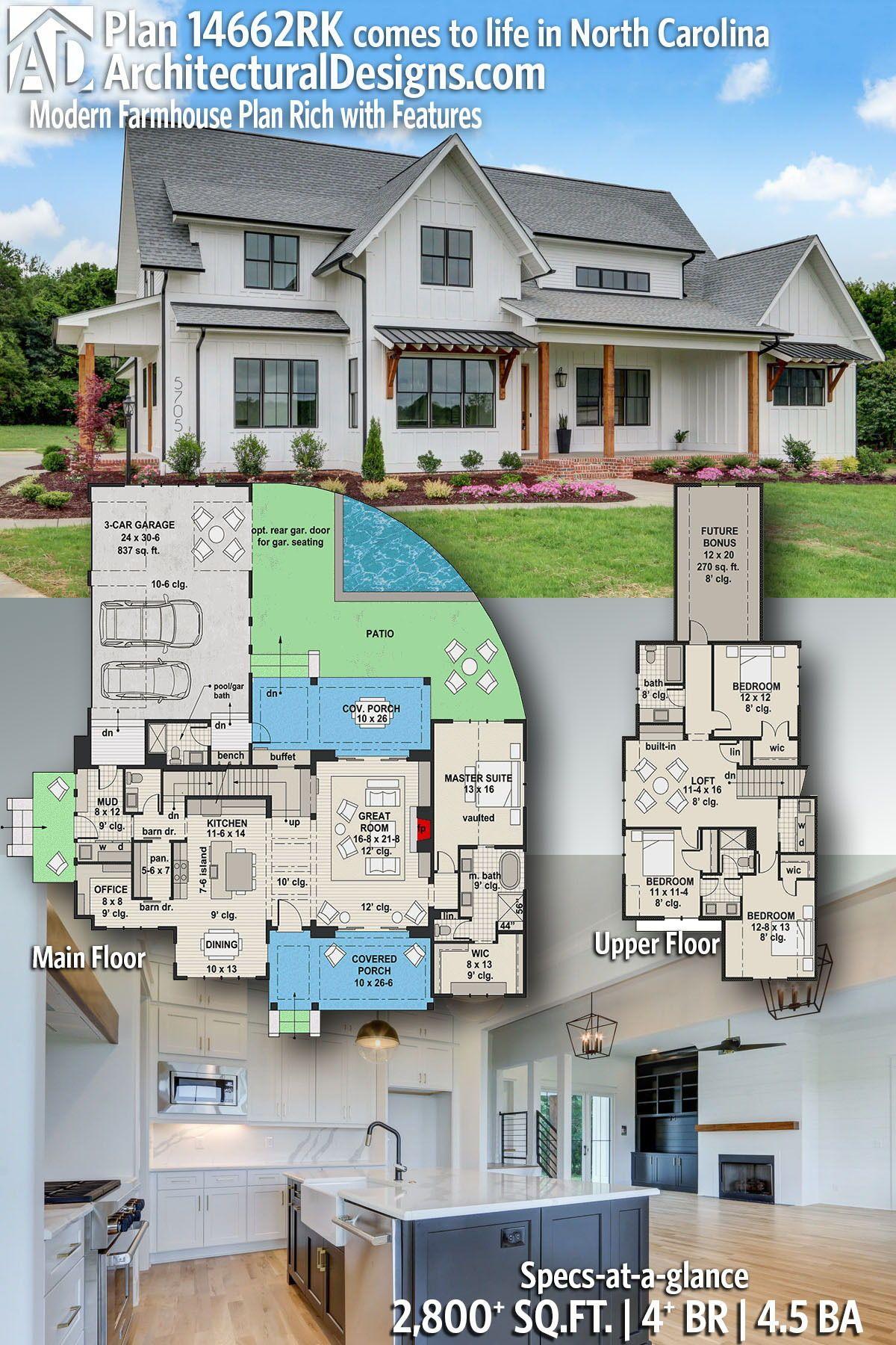 Plan 14662rk Modern Farmhouse Plan Rich With Features In 2020 Modern Farmhouse Plans Farmhouse Plans Dream House Plans