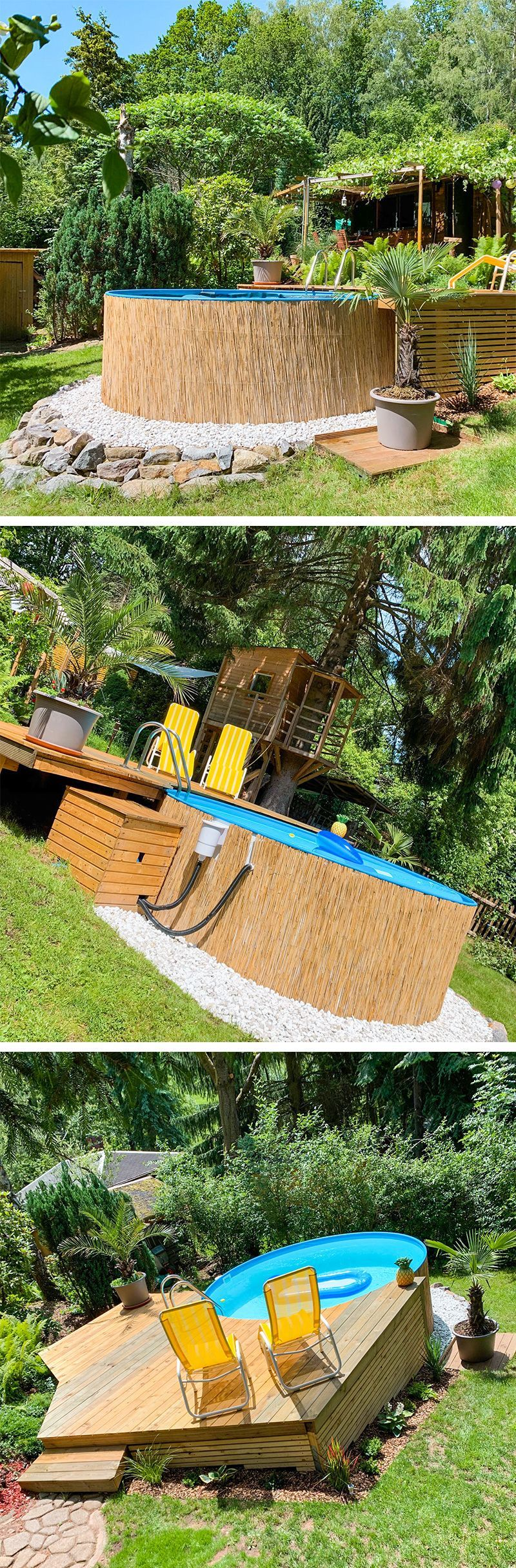 Unsere Kunden Lassen Sich Die Aussergewohnlichsten Gestaltungsideen Fur Ihren Stahlwandpool Einfallen P In 2020 Swimming Pools Backyard Backyard Garden Small Pools