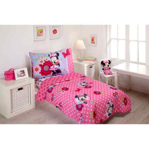 Disney Minnie Mouse Bow Power 4 Piece Toddler Bedding Set Pink