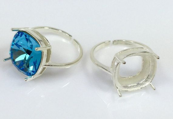 65dad83be 4pcs x Quality Cast 12mm Shiny Silver Plated Adjustable Ring Bezel Settings  fit Swarovski 4470 crystals