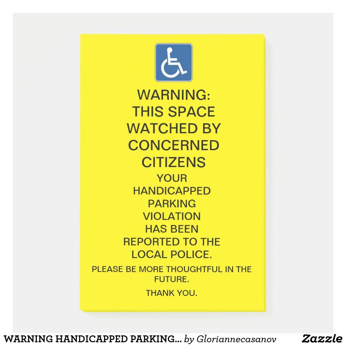 Warning Handicapped Parking Violation Sign Post It Notes Zazzle Com Post It Notes Sign Post Custom Holiday Card