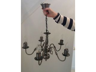 Pewter / dull silver 5 candle bulb candelabra style chandelier ceiling light Pontyclun Picture 1