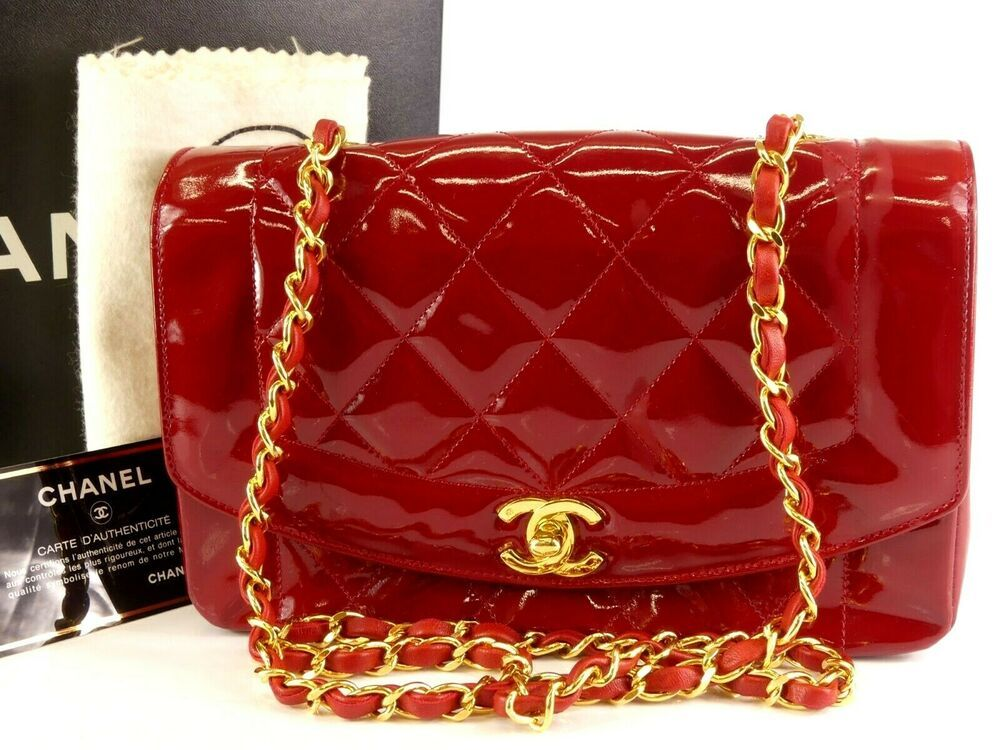 54e1352052ba ra772 Auth CHANEL Red Quilted Patent Leather Diana Flap Chain Shoulder Bag   fashion  clothing