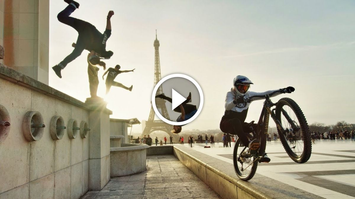Watch Bike Vs Parkour Fabio Wibmer Jumps The Highest Roofs In London And Paris Singletracks Mountain Bike News Parkour Mountain Biking Bike