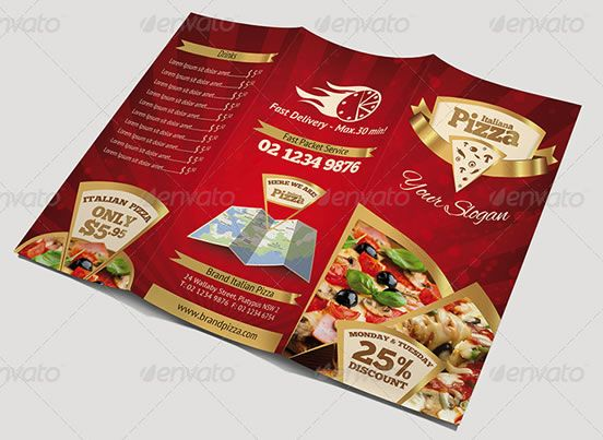 Brochure layout templates for Indesign Illustrator PDF and more – Sample Pizza Menu Template