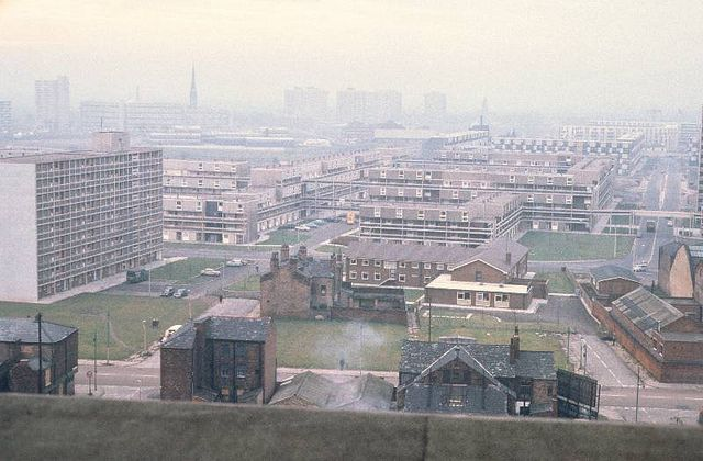 View of Hulme from the top of the Chatham Building, November 1970. by Visual Resources @ MMU, via Flickr