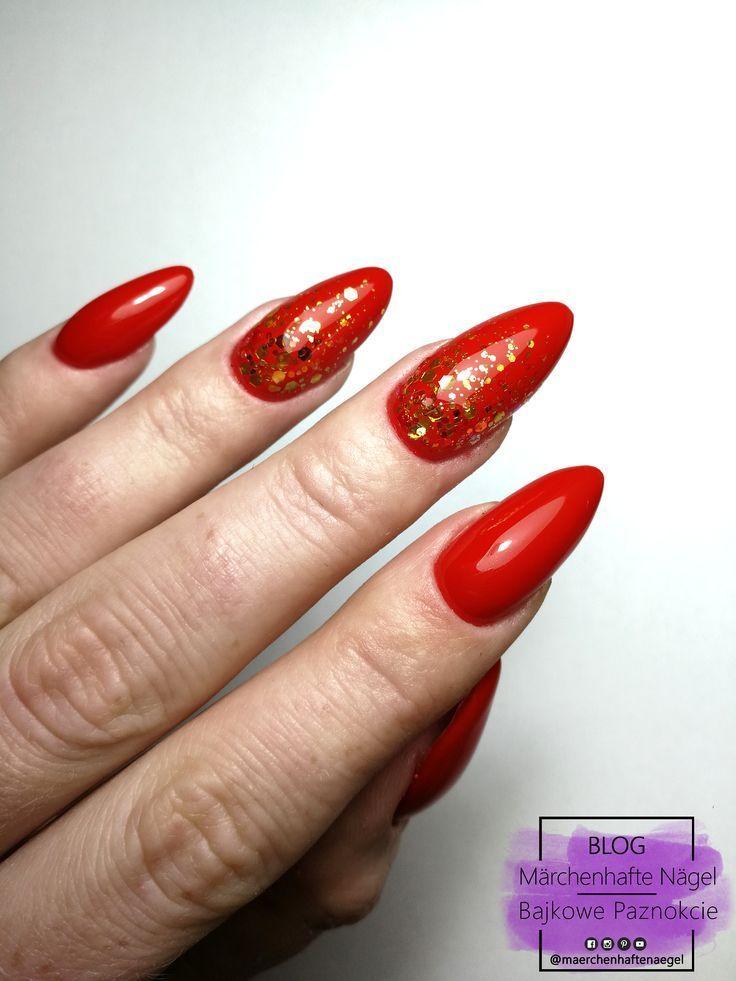Red nails with gold glitter, rote nägel, nägel design, czerwone paznokcie, paz… – Nage…