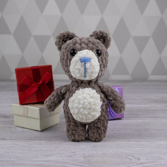 Brown bear with bluenose softy knitted amigurumi toy handmade blue nose bear toy knitted crochet toy plush mini knitted bear easter gift #beartoy