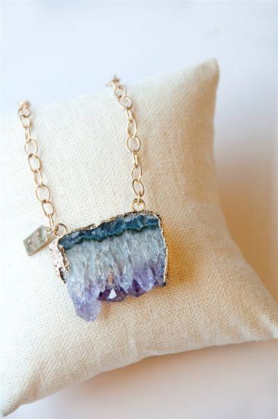 Amethyst Stone Pendant Necklace #necklace #jewelry #elliebing #amethyst #fashion #pendant #shop