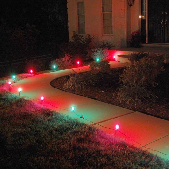 LumaBase Red and Green Pathway Lights Christmas Pinterest