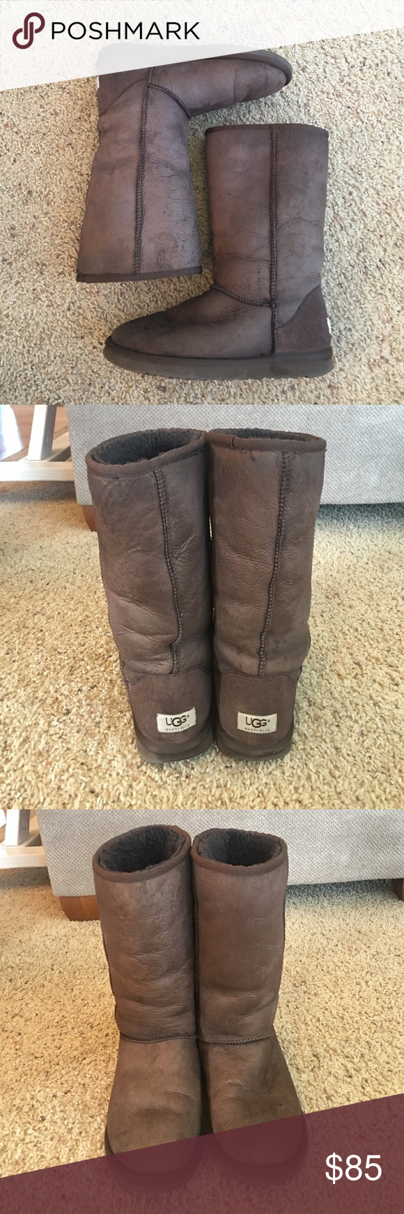 Uggs Classic short uggs in brown size 9. Good loved condition. Always washed and water proofed with ugg cleaners. No tears. Small stain on the toe. Tons of life left. They are authentic I purchased them from neiman marcus. Will consider offers. UGG Shoes Winter & Rain Boots