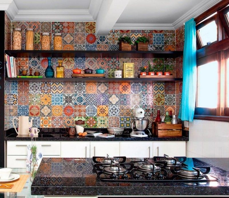 Colorful Pattern Floral Tile Wall Kitchen Design With White Backsplash Black Marble The Top As Well