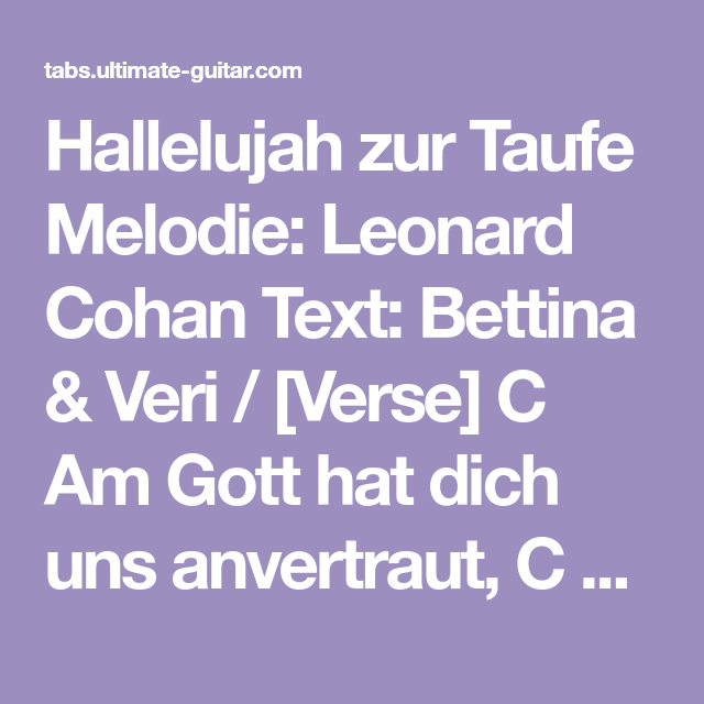 Hallelujah Zur Taufe Melodie Leonard Cohan Text Bettina