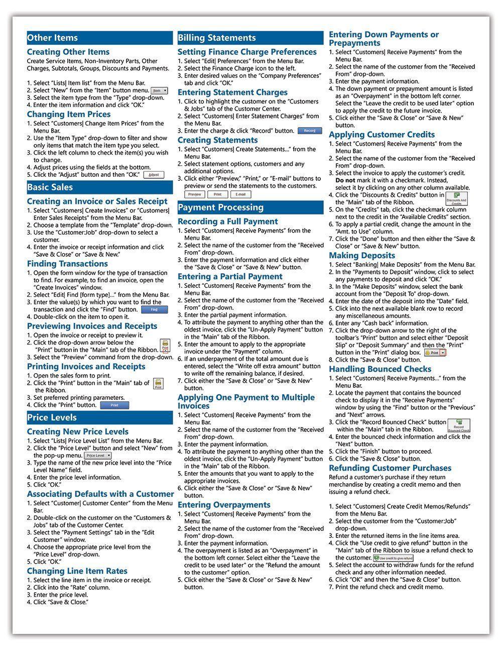 quickbooks pro 2015 quick reference training card laminated guide rh pinterest com au