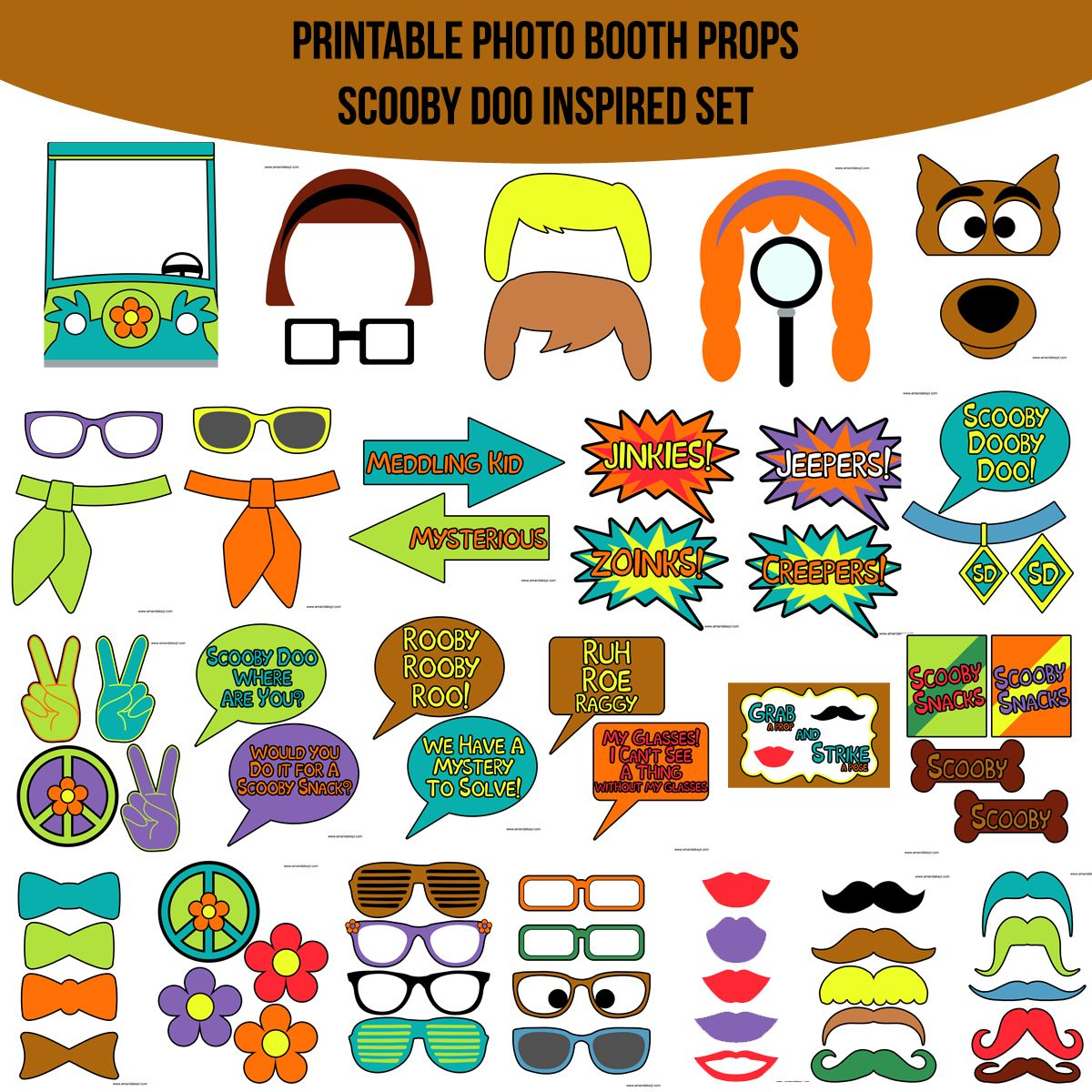 Instant Download Scooby Doo Inspired Printable Photo Booth Prop Set ...