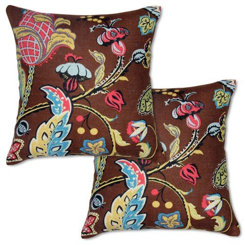Find it at the Foundary - 18 x 18 in. Set of 2 Wilmington Chocolate Jacobean Pillow Covers