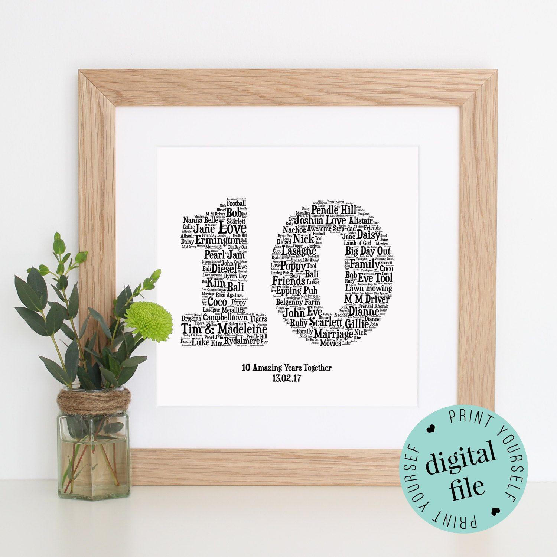 10th Anniversary Gift Word Art Printable Gift 10 Year