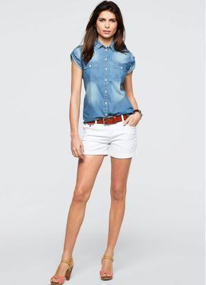 3de28c2b5e Blusa Jeans Manga Curta Azul - Posthaus Blusa Jeans Manga Curta Azul - bonprix  Camisa Jeans