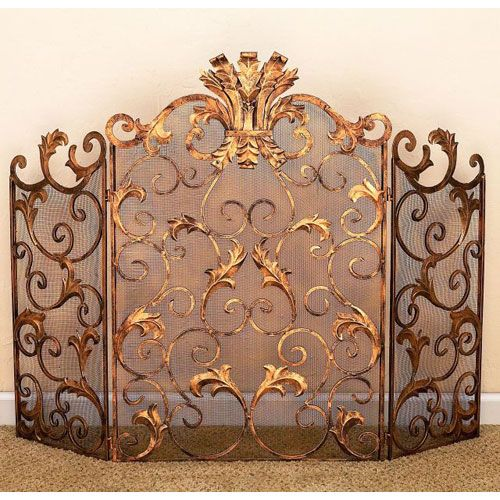 Antique Gold Acanthus Leaf Accent Fireplace Screen Dr Livingstone I Presume  Screens Firepl - 19th Century English Fire Fender/Fire Screen Gardens, English