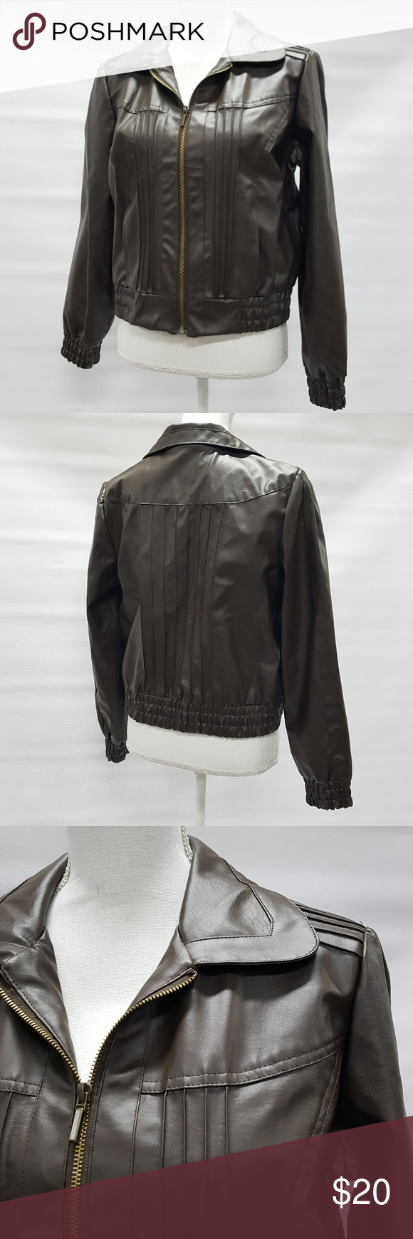 New Directions Faux Leather Jacket Petite Large Faux Leather Jackets Leather Jacket Brown Jacket