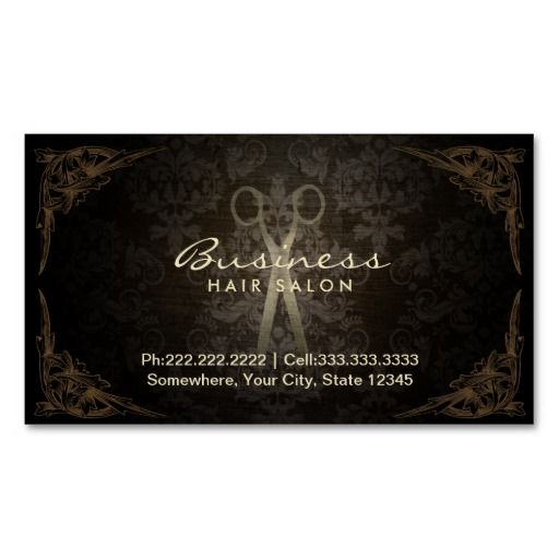 Vintage Framed Damask Hair Salon Appointment Business Card - Hair salon business card template