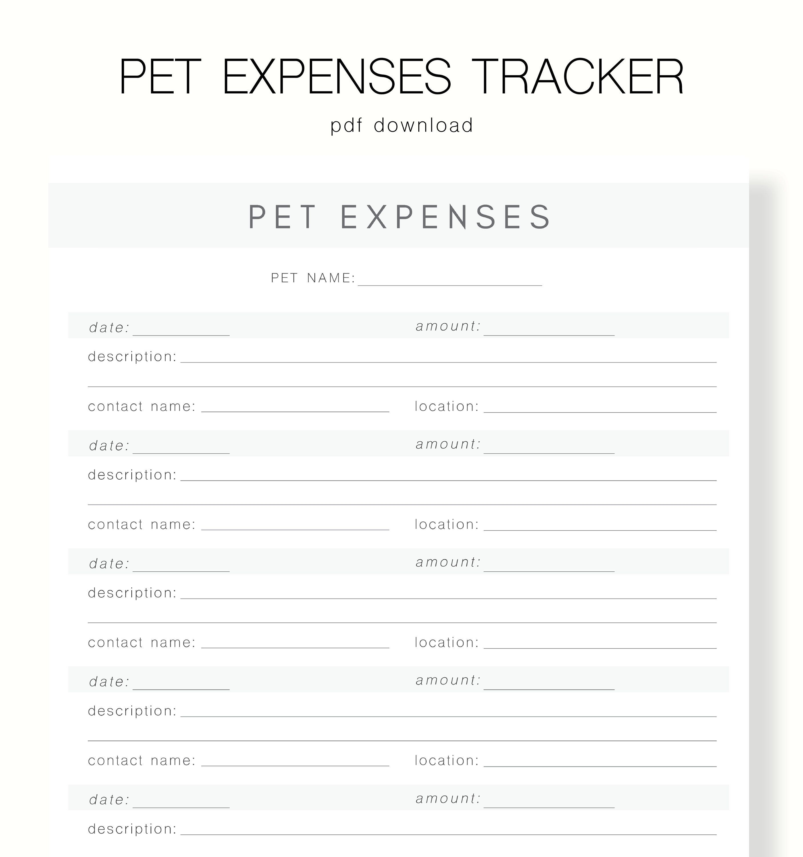 Pet Finance Pet Budget Printable Digital Pet Expenses