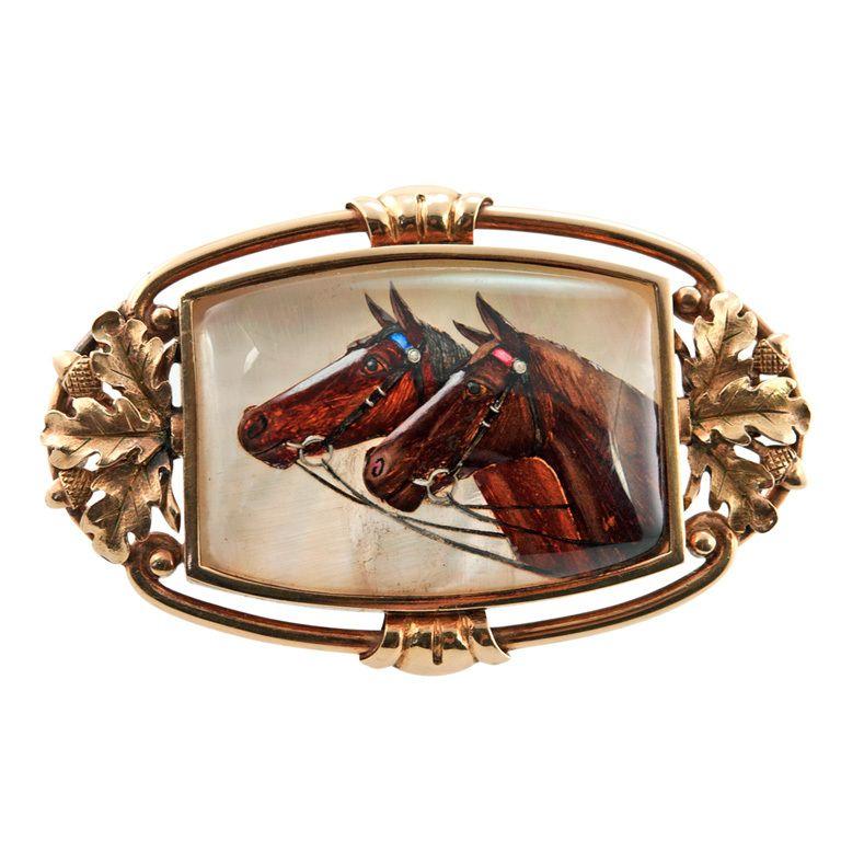 Victorian Essex Crystal Horse Brooch In 2019 Victorian