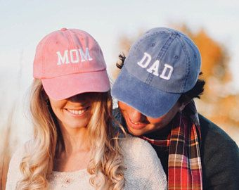 28930aeb Mom & Dad Unstructured Dad Hat Gift or Baby Announcement Coral, Royal and  White or Your Color Choice