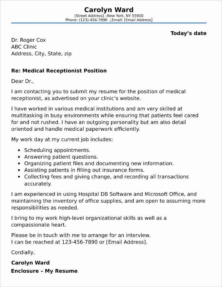Cover Letter Template Receptionist Best Of Medical