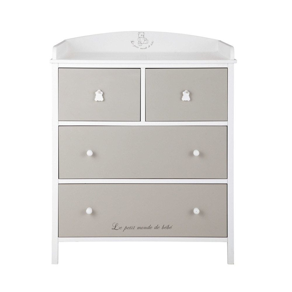Changing table chest of drawers white and taupe baby pinterest
