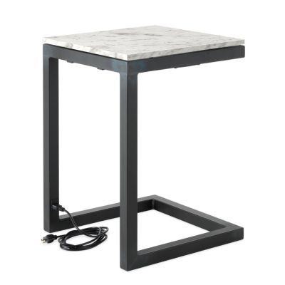 Room Board Modern Parsons C Shaped Table With And Usb Outlets In Natural