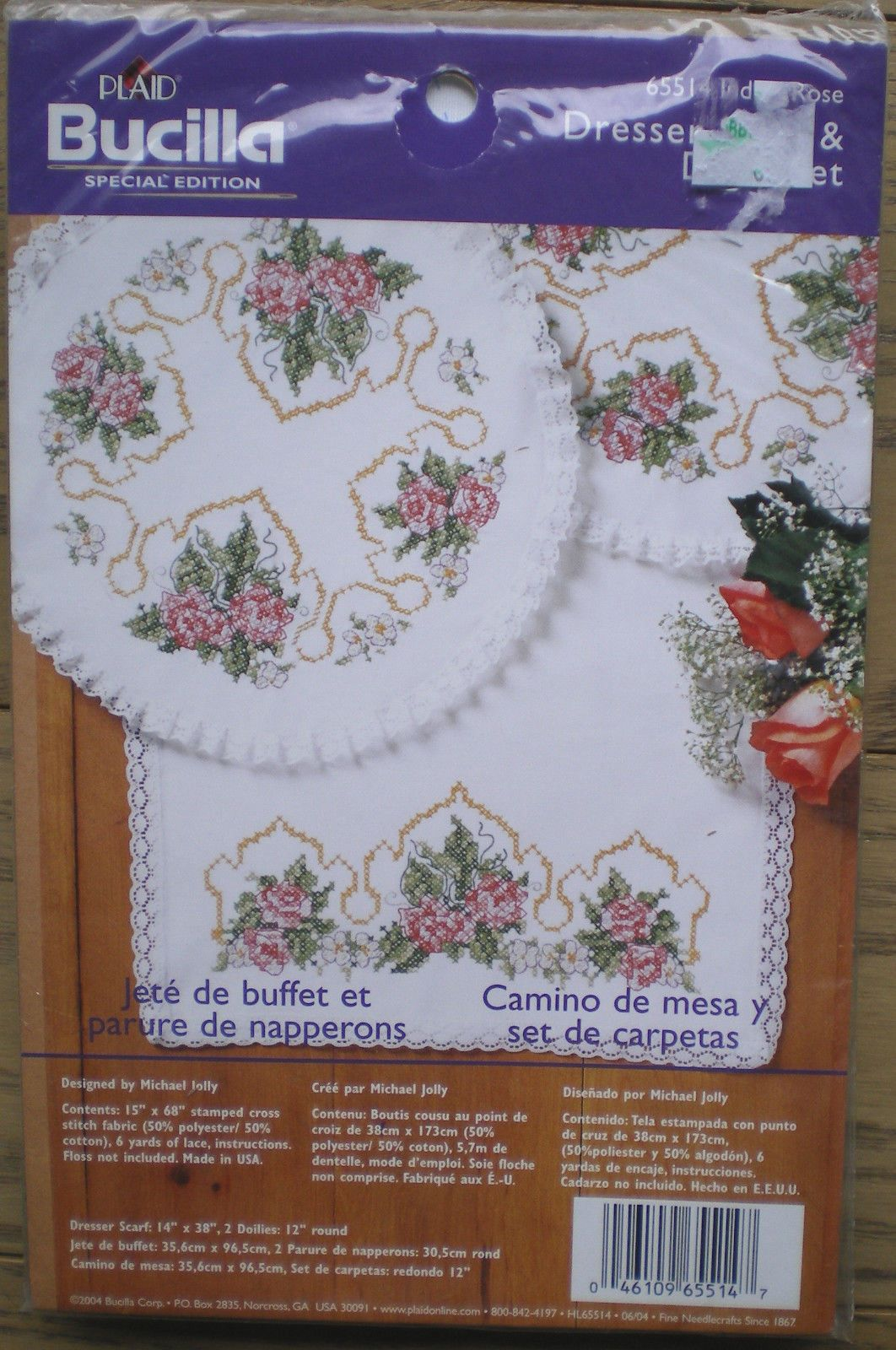 Bucilla Indian Rose Dresser Scarf And Doily Set Stamped Cross Sch Kit Ebay