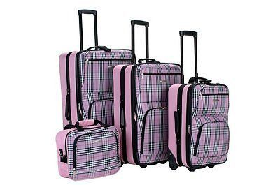 Rockland Luggage 4PC Set SoftCase Rolling Nesting Suitcases Pink Cross Plaid