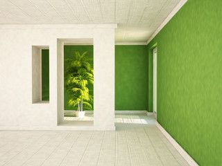 empty room with a door and the niches, a plant,