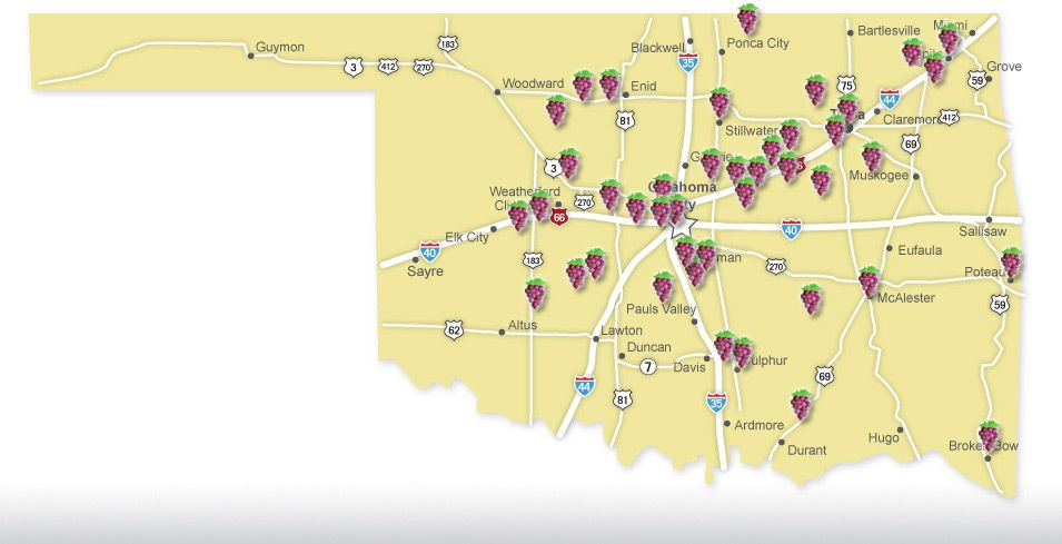 oklahoma wineries map tennessee map
