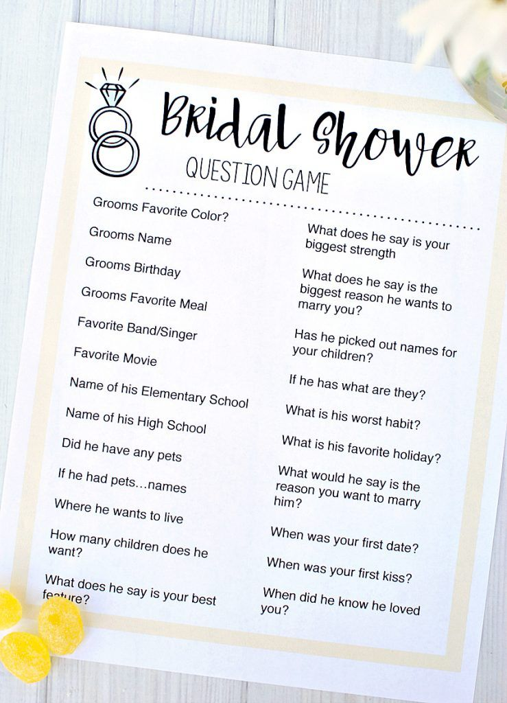 Bridal shower questionnaire template