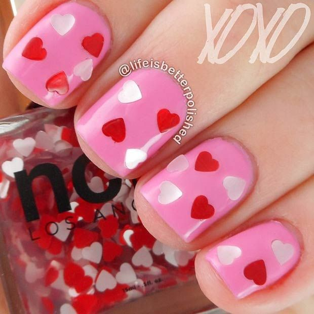 35 cute valentines day nail art designs short nails red nails 35 cute valentines day nail art designs prinsesfo Images