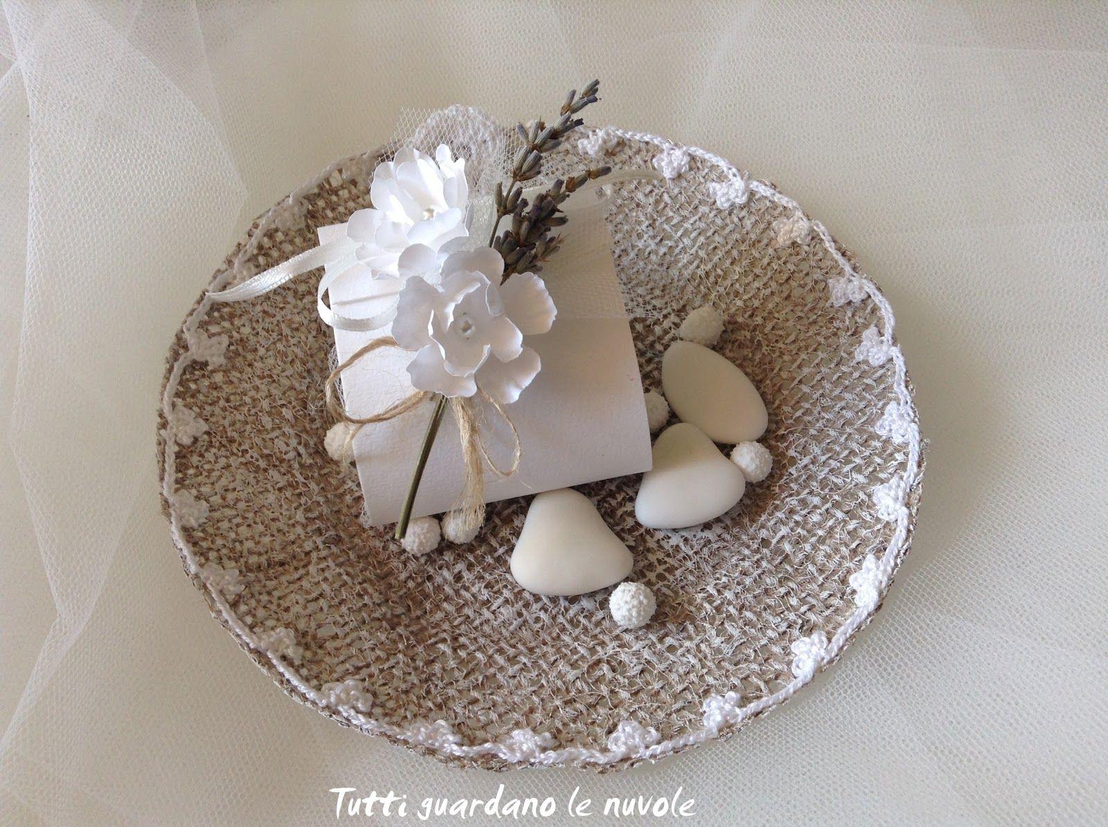 Bomboniera Country Chic Handemade, Wedding Tea Cup realizzata in juta e crochet