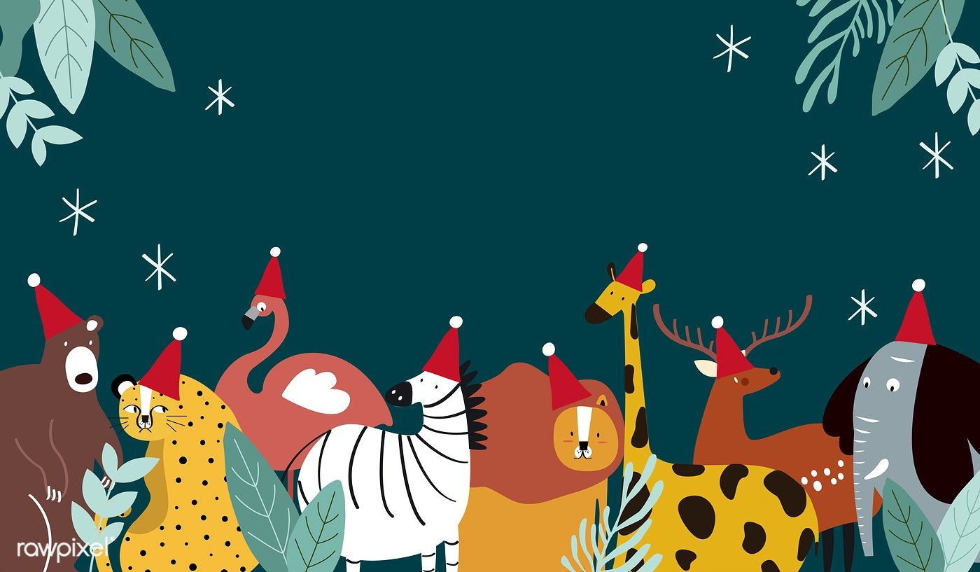 Animal Theme Merry Christmas Card Vector Free Image By Rawpixel